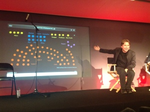 Salonen describing the orchestra diagram at the launch at the Apple store in London (14 December 2012)